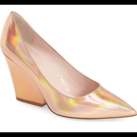 5cae88208d0c kate spade Shoes - Rose Gold Holographic wedge block heel